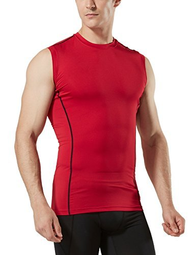 TM-MUA05-RED_Large Tesla Men's R Neck Sleeveless Muscle Tank Dry Compression Baselayer MUA05