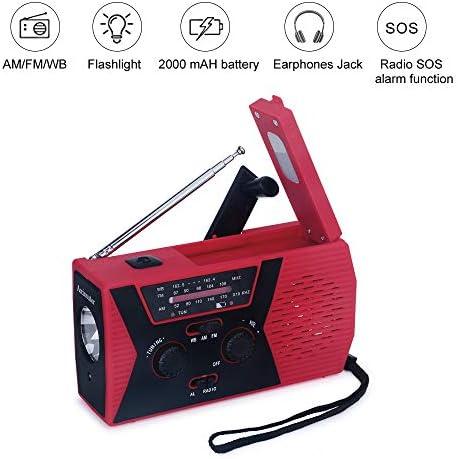Emergency Weather Radios SOS Alarm AM/FM NOAA Radio Hand Crank ...