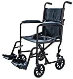 Aluminum Transport Chair Lightweight Wheelchair, 19'' (Black)