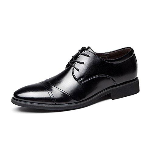 O & N Mens Scarpe Stringate Eleganti In Pelle Casual Oxford Nere