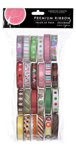 Extreme Value Ribbon Seasonal Pack by American Crafts | 24 pack | Includes 24 spools of printed and woven ribbon in various seasonal patterns