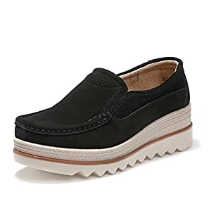 HKR-JJY3088heise39 Women Platform Slip On Loafers Comfort Suede Moccasins Wide Low Top Wedge Shoes Black 7.5 B(M) US