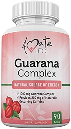Guarana Complex – Guarana Complex Energizer – Caffeine Energizing Supplement – Natural Source of Energy – Increasing Mind Functions Supplement – 1000mg of Guarana – 90 Tablets by Amate Life