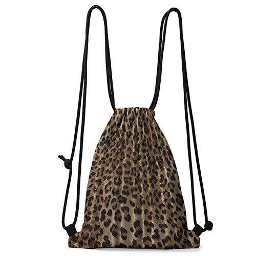 Printed Quilt Bag Leopard Print Sexy,Nearly Natural Wildlife Safari Decorations Big Cat Theme Fur Skin Animal Print,Black Brown Beige W13.8 x L17 Inch for Sports Home Travel