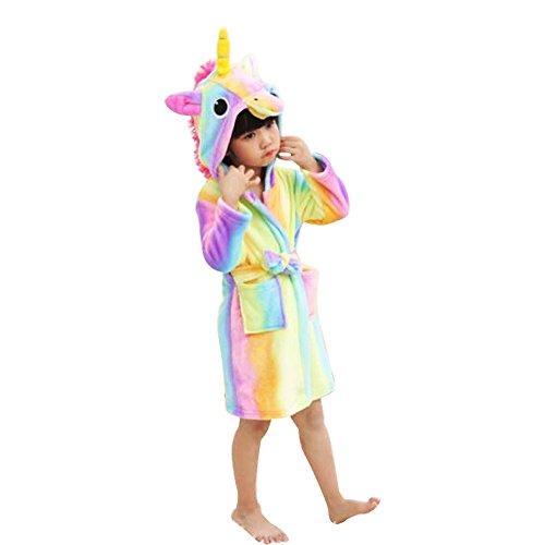 Price comparison product image WDA Kids Unicorn Costumes Animal Pajamas Fleece Bathrobe Robes For Children (Rainbow, 130cm)