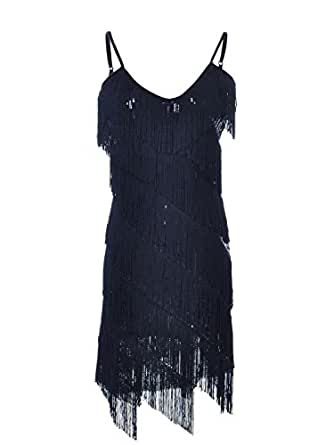 Anna Kaci Womens Fringe Sequin Strap Backless 1920s Flapper Party Mini Dress S Black