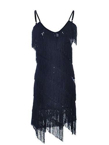Anna-Kaci Womens Fringe Sequin Strap Backless 1920s Flapper Party Mini Dress,Black,XX-Large]()