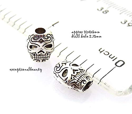 Pendant Jewelry Making 10 Candy Skull 10mm Dia De Los Muertos Day of The Dead Halloween Spacer Beads -