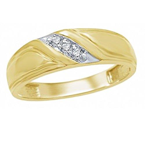 OMEGA JEWELLERY Men's 1/10 Ct Round Cut Real Diamond 10K Yellow Gold Three Stone Wedding Band (Omega Diamond Ring)