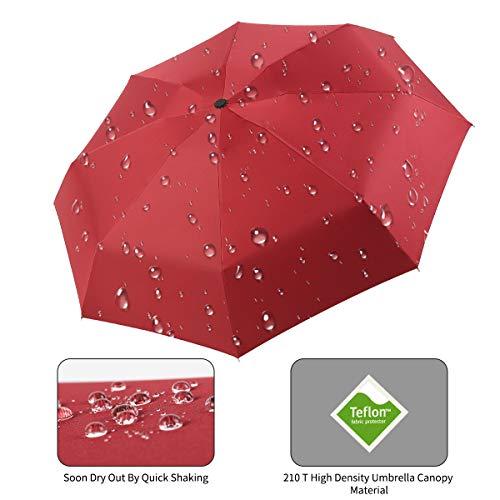 9e221f878da3 Automatic Travel Umbrella Compact Mini Umbrella Windproof Folding Rain  Umbrella Auto Open/Close Lightweight Small Umbrellas for Women Men  Kids(Wine ...