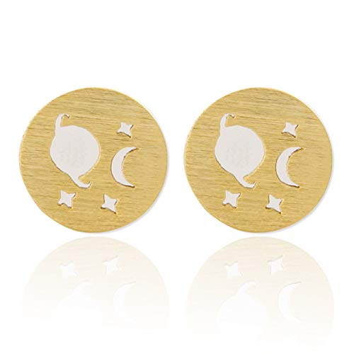 (LAONATO Planet and Crescent Moon 2 Tone Disc Earrings Studs Plated Brass (Gold))