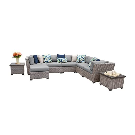 TK Classics FLORENCE-09c 9 Piece Outdoor Wicker Patio Furniture Set - Thick cushions for a luxurious look and feel Cushion covers - washable and zippered for easy cleaning (air dry Only) Feet Levelers - Height adjusters for uneven surfaces that won't mar your patio or deck - patio-furniture, patio, conversation-sets - 41FZfGKpDJL. SS570  -