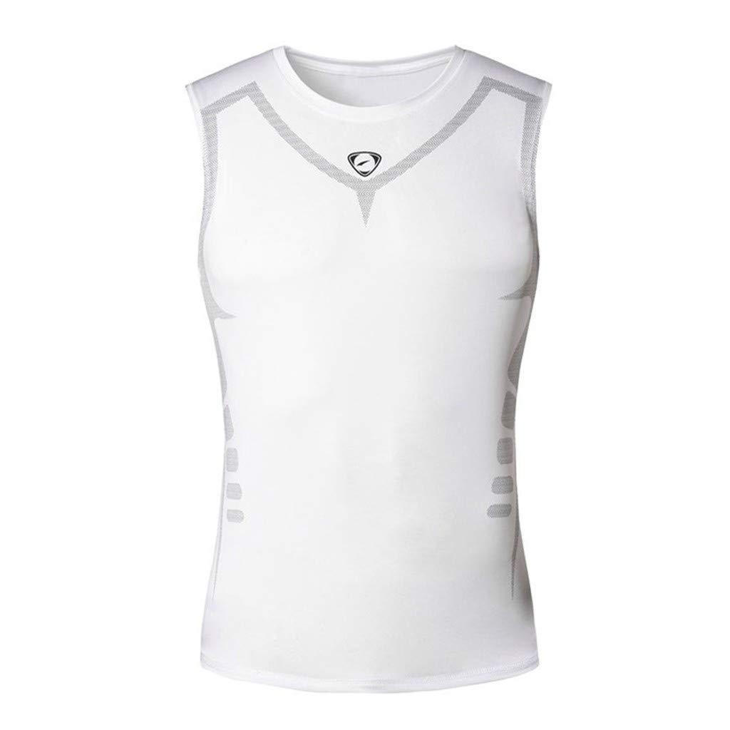 Winsummer Men's Classic Tank Top Muscle Gym Workout Sleeveless Vest Stringer Bodybuilding Fitness T-Shirts White