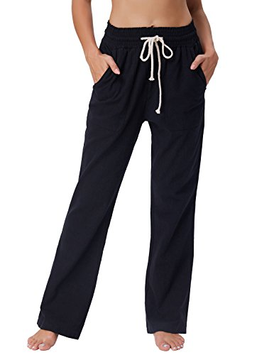 GRACE KARIN Women's Wide Leg Linen Pants with Drawstring Waist Szie M Black