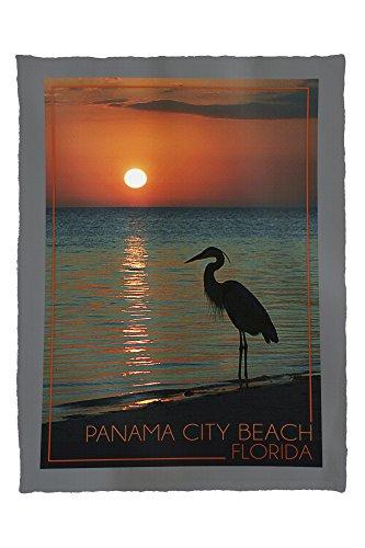 Panama City Beach, Florida - Heron and Sunset (60x80 Poly Fleece Thick Plush - Panama Beach City Time Sunset