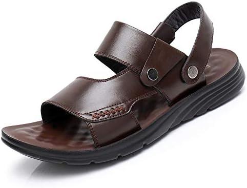 メンズサンダル メンズスポーツアウトドアサンダル夏の通気性のビーチシューズレザーカジュアルウォーキングサンダルアウトドア非スリップハイキングトレッキングサンダル アウトドア防水靴 (Color : Brown, Size : 42)