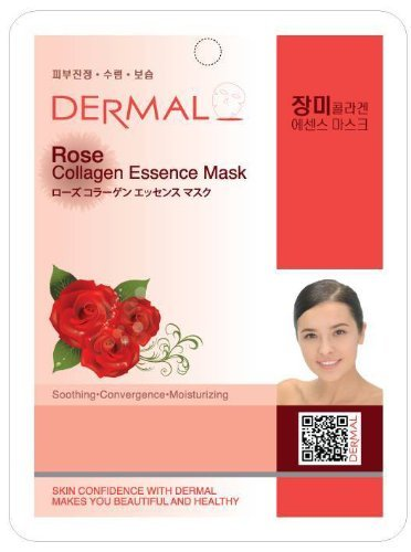 - DERMAL Rose Collagen Essence Facial Mask Sheet 23g Pack of 10