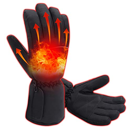 Winter Warm Electric Heated Gloves Rechargeable Battery Operated Motorcycle Heating Glove Men Women Hunting Ski Camping Mittens Stylish Waterproof Cold Weather Gloves Outdoor Sports Hand Warmer Black ()