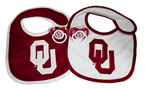 NCAA Oklahoma Sooners Infant Bib and Pacifier Set (Oklahoma Sooners Infant Two Piece)