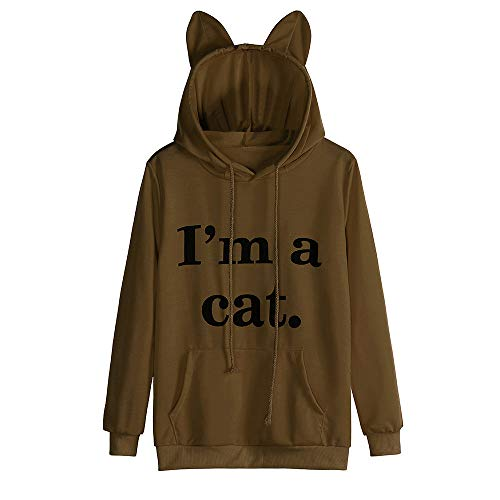 2019 I'm Cat Tunic Top New Ladies Short and Long Sleeve Print Cat Ear Hooded Blouses Coffee (2ne1 Im The Best)