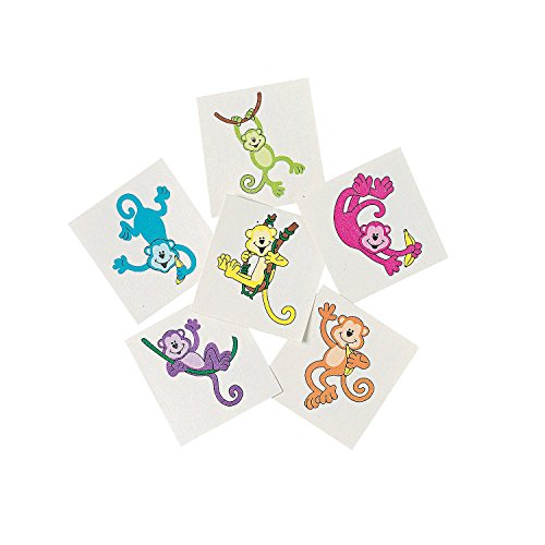 [72 Neon Monkey Temporary Tattoos Birthday Party Favors] (Monkey Party Supplies)