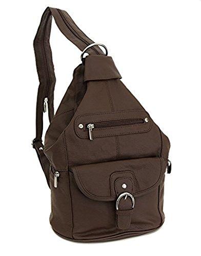 Womens Leather Convertible 7 Pocket Medium Size Tear Drop Sling Backpack Purse Shoulder Bag, Dark ()