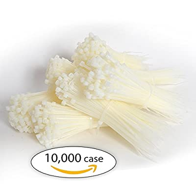 "Case of Zip Ties. Case of 10,000 Cable Ties. Natural Color 8"" Industrial Grade Self-Locking Nylon Ties. 40 lb"