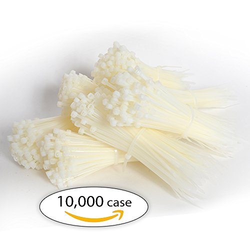 Case of Zip Ties. Case of 10,000 Cable Ties. Natural Color 8'' Industrial Grade Self-Locking Nylon Ties. 40 lb by Universal Packaging