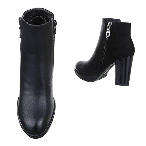 Design Mujer Botas plisadas Ital negro YqP8n