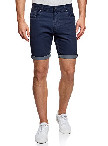 "oodji Ultra Hombre Pantalones Cortos ""5 Bolsillos"" de Algodón Azul (7975W)"