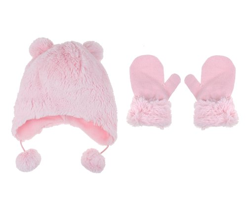 Capelli New York 2 Piece Set:Faux Bunny Fur Earflap Hat With 3D Ears, Poms & Mittens Pink Combo