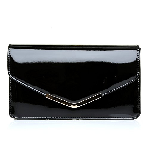 Black Clutch Patent Size Bag LUCKY Patent Medium Black Medium LUCKY Size Clutch Patent Black Bag LUCKY TgcfAUc1