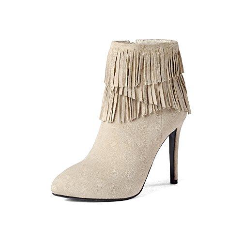 de Tacón Bordeada DYF de Zapatos de Botas Zipper Arroz Sólidos Redonda Blanco 34 Zipper Colores Cabeza Alto nffqPTgR