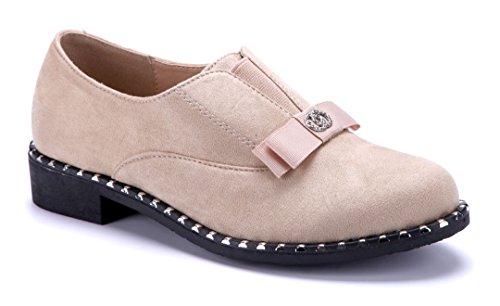 Schuhtempel24 Damen Schuhe Halbschuhe Blockabsatz Ziersteine/Nieten 3 cm Beige