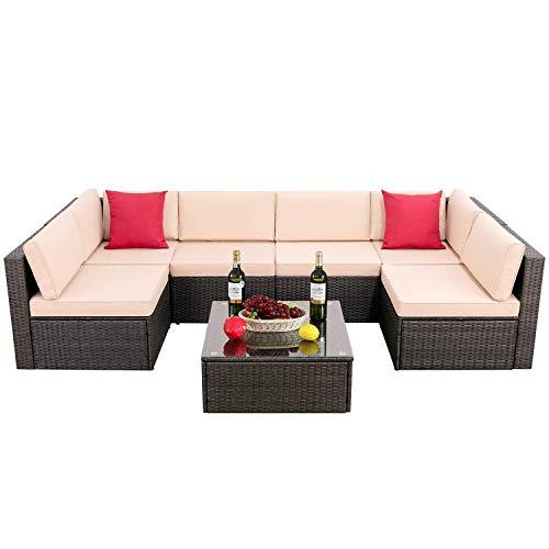 Hooseng Patio PE Rattan Sectional Garden Furniture Corner Sofa Set (7 Pieces,White) (Furniture Garden Sofa Rattan Sets)