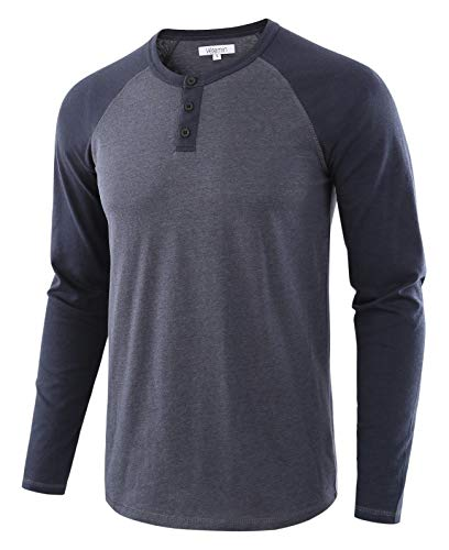 Vetemin Men's Casual Vintage Long Sleeve Raglan Henley Shirts Baseball T-Shirt Cadet Blue/Navy S
