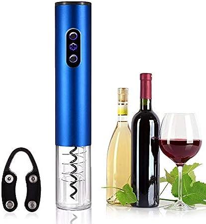 keyuan Sacacorchos Electrico, Abridor de Vino Electrico Profesional BateríA Alimentado con Cortador de CáPsulas para Vino/ChampáN/Sidra/Espumante, Etc (Azul)