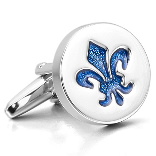 INBLUE Men's 2 PCS Rhodium Plated Enamel Cufflinks Silver Tone Blue Knight Fleur De Lis Shirt Wedding Business 1 Pair Set (Cufflinks Nickel Plated Silver)