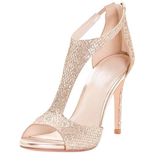 David's Bridal Glitter Fabric T-Strap Heels Style Saylor, Gold Metallic, 6