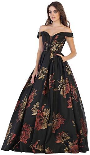 Formal Dress Shops Inc FDS7675 Red Carpet A-line Floral Gown (Black/Multi, 18) ()