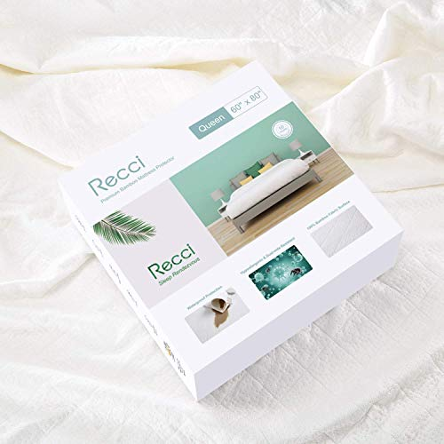RECCI Premium Bamboo Mattress Protector Queen Size - 100% Bamboo Fabric Surface Mattress Cover, Waterproof Bed Cover, Hypoallergenic, Vinyl Free 【Queen Size】