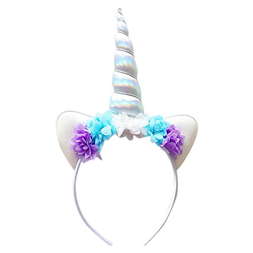HMGOOD Unicorn Headband, Unicorn Headband Horn Headdress Glitter Ears for Kids Birthday Halloween Christmas Party Birthday Cosplay Costume White