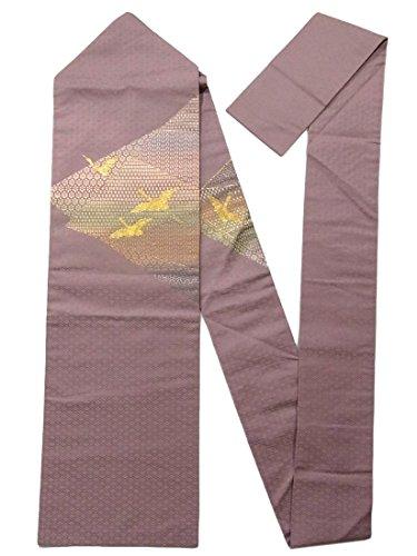 靴下在庫アンテナリサイクル 名古屋帯  鶴の金駒刺繍に裂取り 正絹