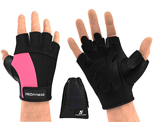 Workout Gloves Rogue Wrist Wraps Gloves for Gym Weighted Gloves for Women Hand Grips Hole Hand Grips Training Gloves Climbing Gloves Weight Lifting Gloves Men Fitness (X-Large, Black/Pink)