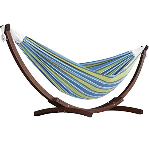 Vivere 8.5′ Double Cotton Hammock with Solid Pine Arc Stand