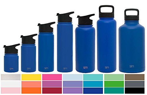 Simple Modern 40oz Summit Water Bottle + Extra Lid - Vacuum Insulated Stainless Steel Wide Mouth Hydro Travel Mug - Powder Coated Fishing Flask - Twilight Blue