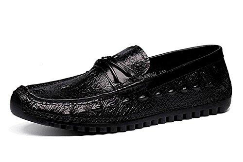 Männer Slip-On Oxford Casual Sommer Breathable Erbsen Schuhe Herren Schuhe Korean Casual Schuhe Straußen Muster Schicht aus Leder Schuhe , black , 40