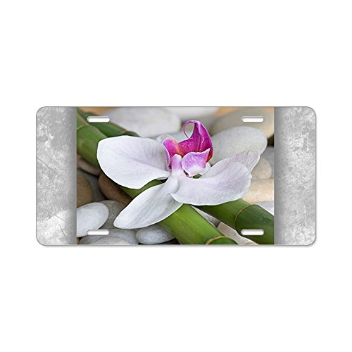 Aluminum License Plate Orchid Bamboo and River Stones