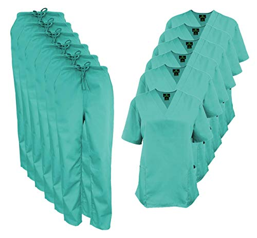 Natural Uniforms Women's Scrub Set Medical Scrub Tops and Pants – Pack of 6 Set (XX-Large, Surgical Green)