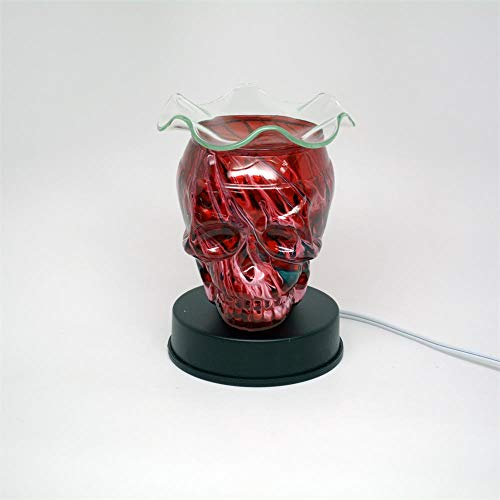 (L&V Glass Electric Touch Fragrance Lamp Oil Warmer Tart Burner Night Light Red Tie Dyed Skull Design)